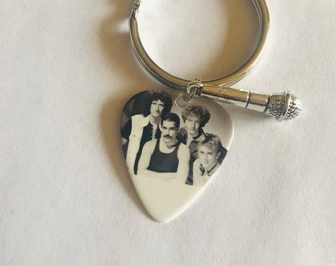 Queen Guitar Pick Keychain