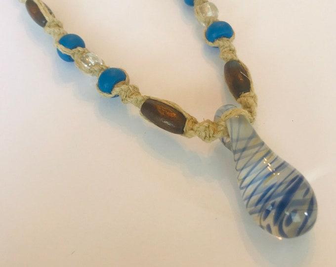 Blue Blown Glass Pendant on Handmade Hemp Necklace
