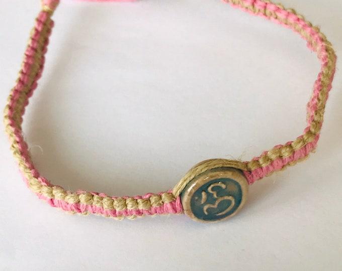 Pink Ohm Hemp Bracelet