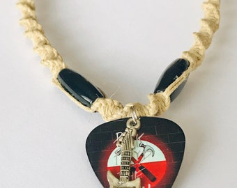 Handmade Hemp Necklace with Pink Floyd Guitar Pick Pendant