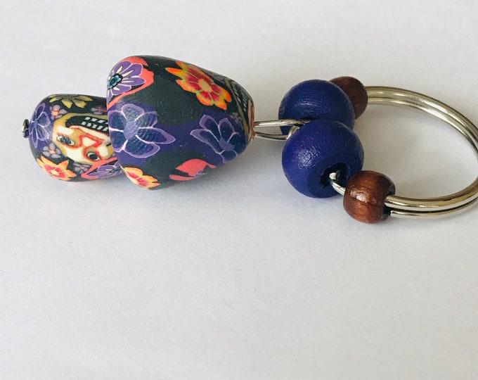 Face Mushroom Keychain with Beads