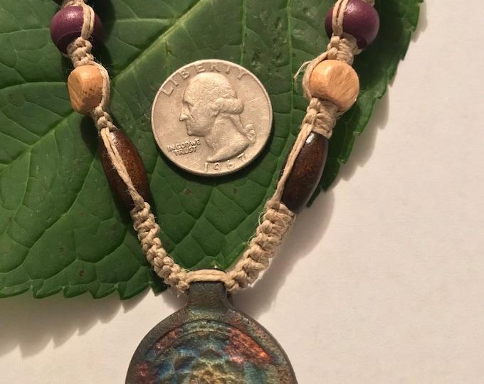 Raku Matte Lotus Hemp Necklace