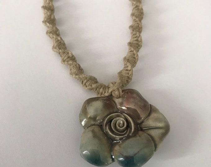Handmade Hemp Necklace with Raku Flower Prndant