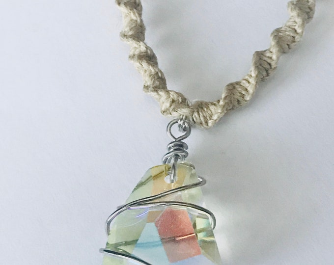 Crystal Prism Pendant on Handmade Hemp Rope Necklace