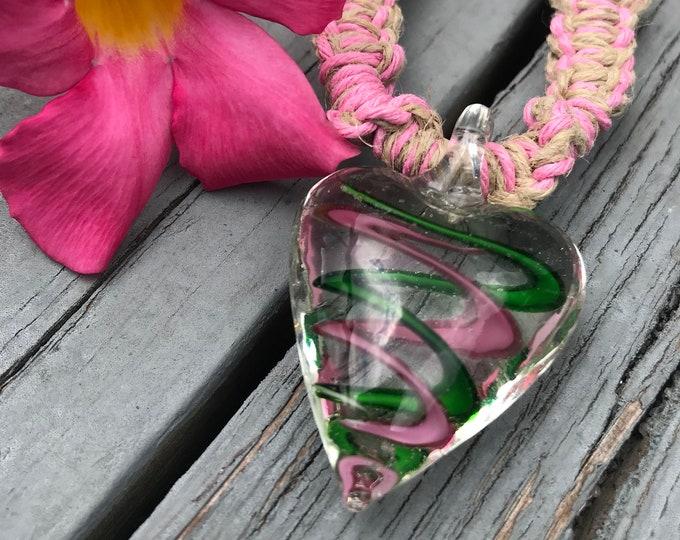 Handmade Hemp Necklace with Glass Heart Pendant Pink