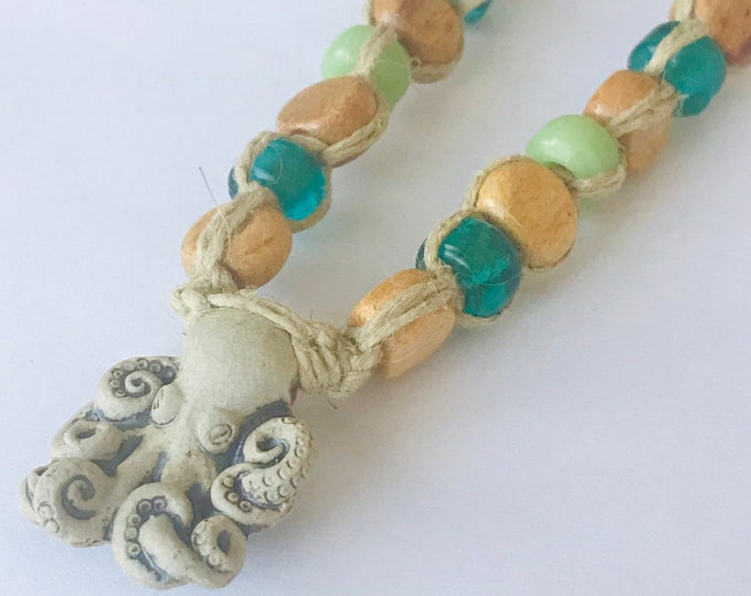Handmade Hemp Necklace with High Fired Peruvian Octopus Bead Pendant