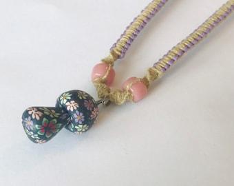 Purple Hemp Mushroom Necklace