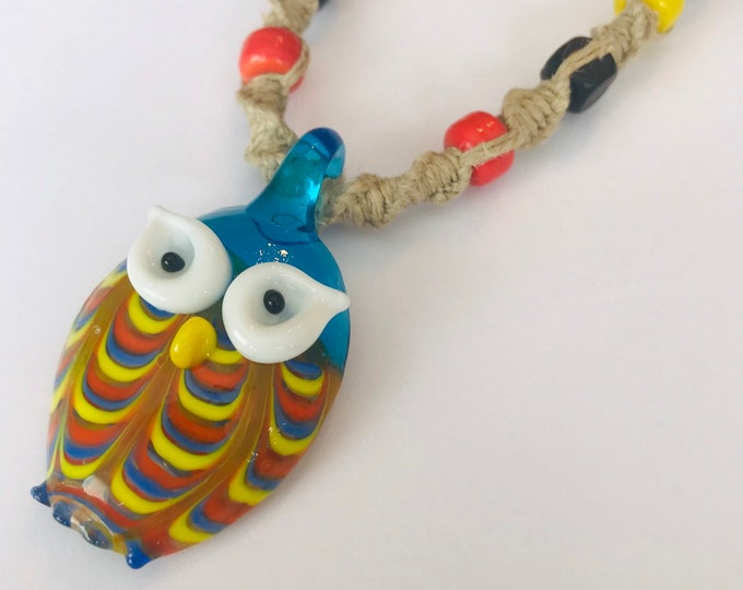 Handmand Hemp Necklace with Glass Owl Pendant