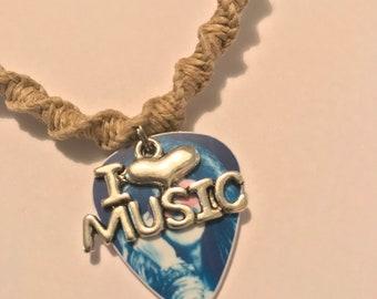 Handmade I Love Music Janis Joplin Guitar Pick Hemp Necklace