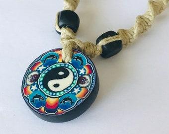 Yin Yang Clay Pendant Handmade Hemp Necklace