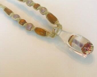 Spiral Blown Glass Mushroom Pendant on Handmade Hemp Necklace