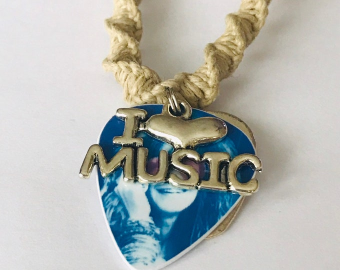 Handmade I Love Music Janis Joplin Guitar Pick Hemp Necklace