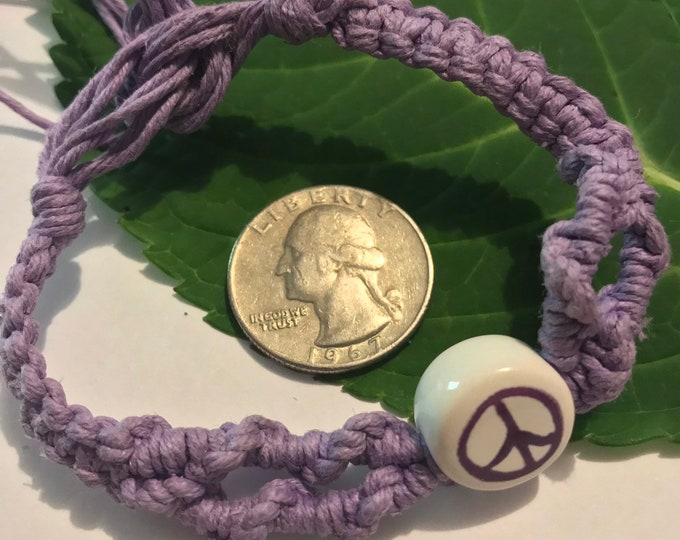 Purple Peace Sign Hemp Bracelet