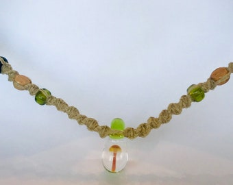 Blown Glass Mushroom Necklace