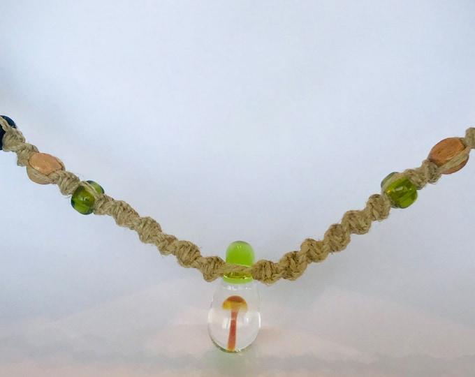 Blown Glass Mushroom Necklace