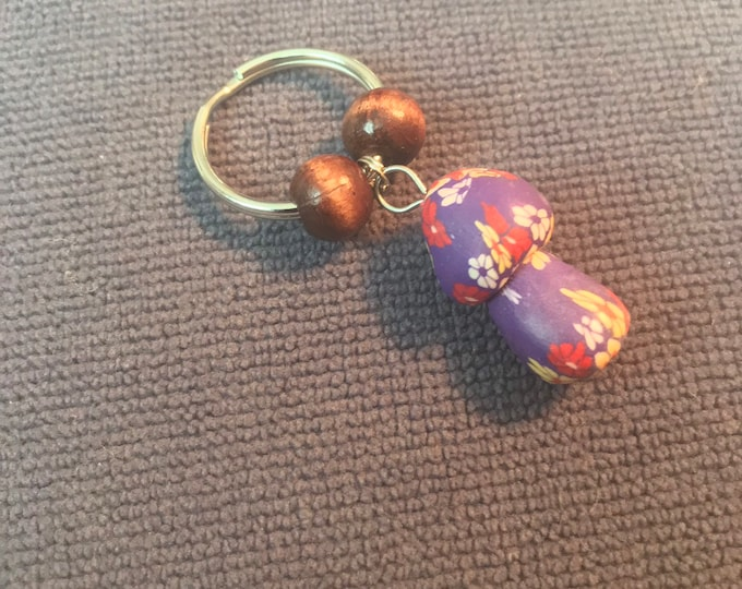 Purple Clay Mushroom Keychain with Beads
