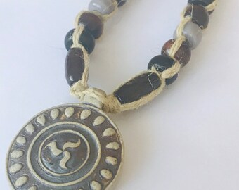 High Fired Tribal Pendant on Handmade Hemp Necklace