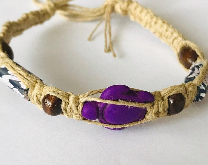 Purple Turtle Hemp Bracelet