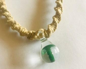 Handmade Hemp Necklace with Hand Blown Glass Mushroom