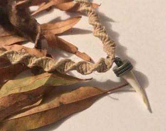 Handmade Hemp Necklace with Tooth Pendant