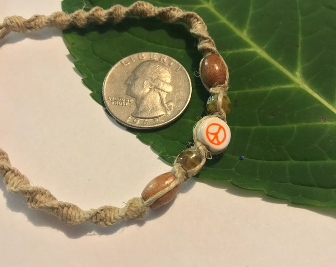 Orange Peace Hemp Bracelet
