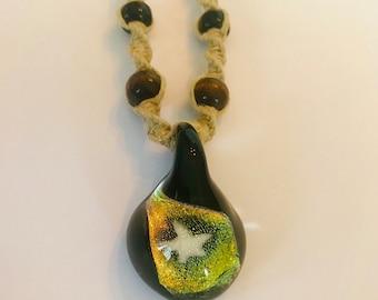 Handmade Hemp Necklace with Blown Glass Star Pendant