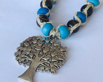 Tree of Life Hands Hemp Necklace