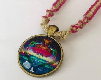Heart Cabochon On Handmade Hemp Necklace