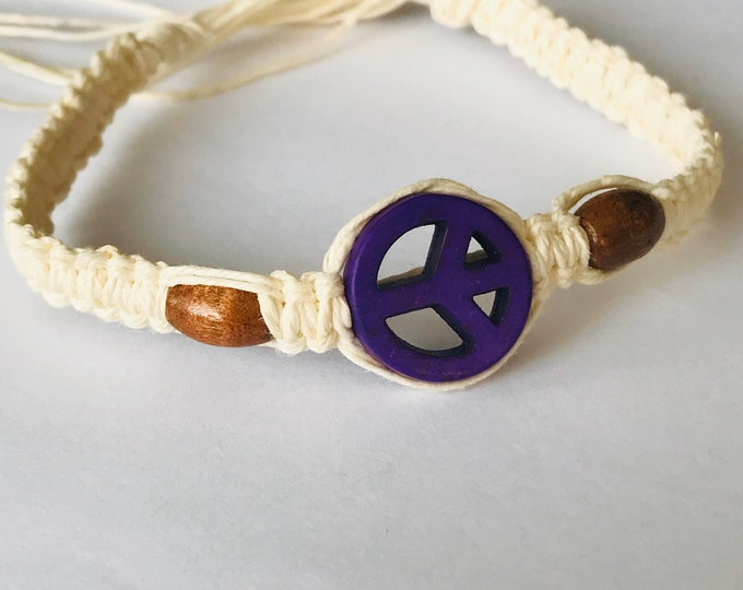 Handmade Purple Peace Sign Hemp Bracelet