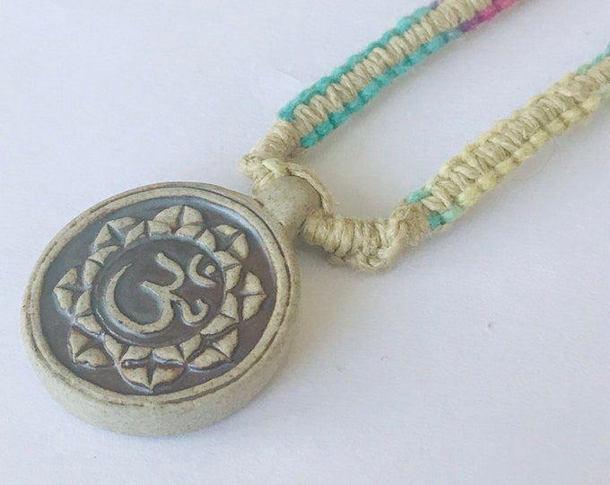 Ohm Ceramic Pendant on muti color handmade hemp necklace 15.5 inches