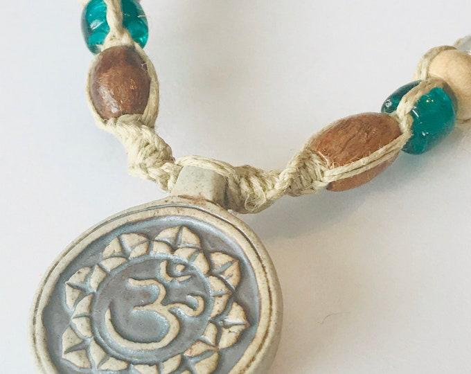 Lotus Raku Hemp Necklace