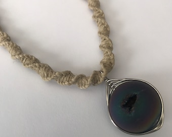 Handmade Hemp Necklace with Wire Wrapped Stone Pendant