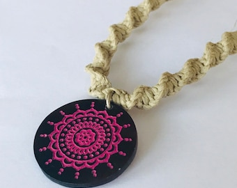 Handmade Hemp Necklace with Pink Shell Tribal Pendant