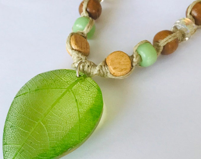Leaf Pendant on Handmade Hemp Necklace