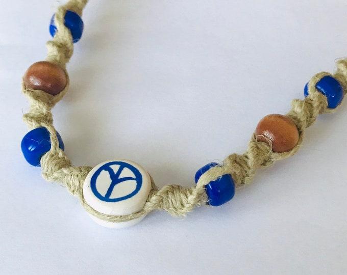 Handmade Hemp Necklace with Blue Peace Bead