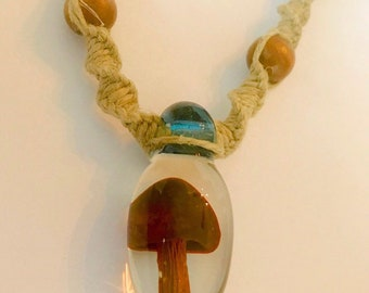 Blown Glass Mushroom Pendant on Handmade Hemp Necklace