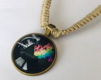 Pink Floyd Cabochon Handmade Hemp Necklace