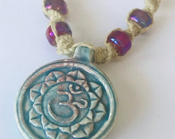 Raku Ohm and Lotus Hemp Necklace