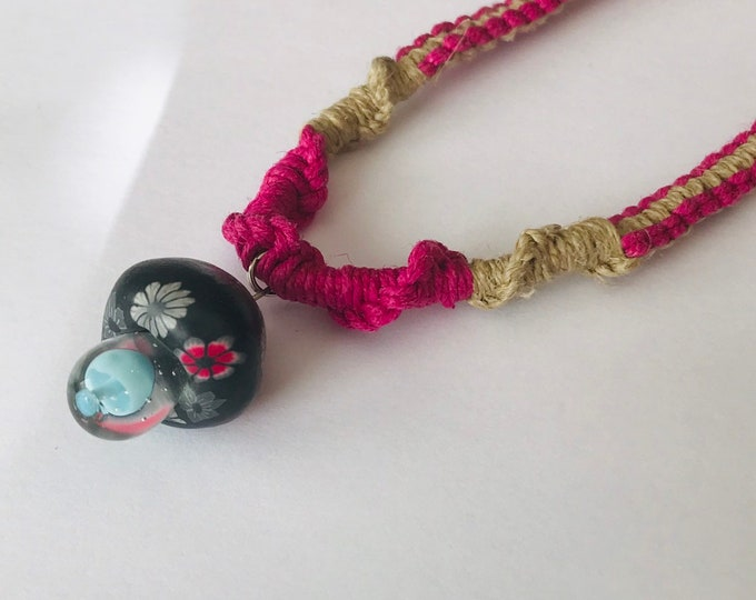 Clay Capped Mushroom Pendant on Natural and Pink Handmade Hemp Necklace