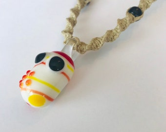 Glass Pill Hemp Necklace