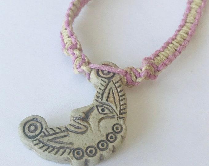 Handmade Hemp Necklace with High Fired Moon Pendant