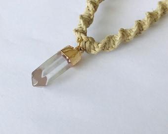Petite Crystal Prism Stone Pendant on Handmade Hemp Necklace