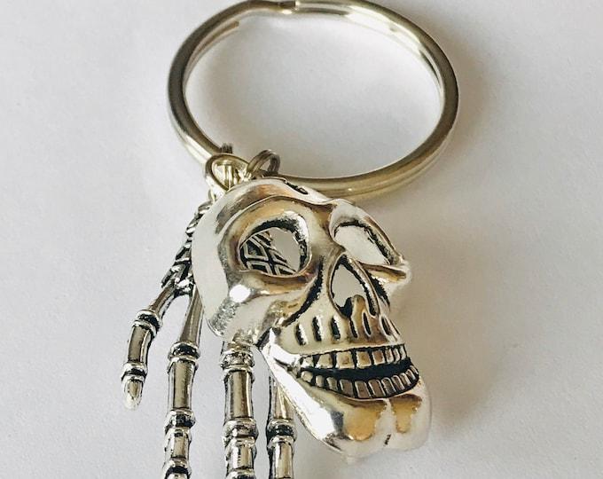 Skull and Skeleton Hand Keychain