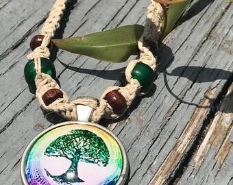 Tree of Life Cabochon Pendant on Handmade Hemp Necklace