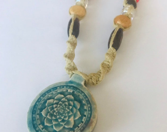 Handmade Hemp Necklace with Lotus Blossum  Peruvian Raku Pendant