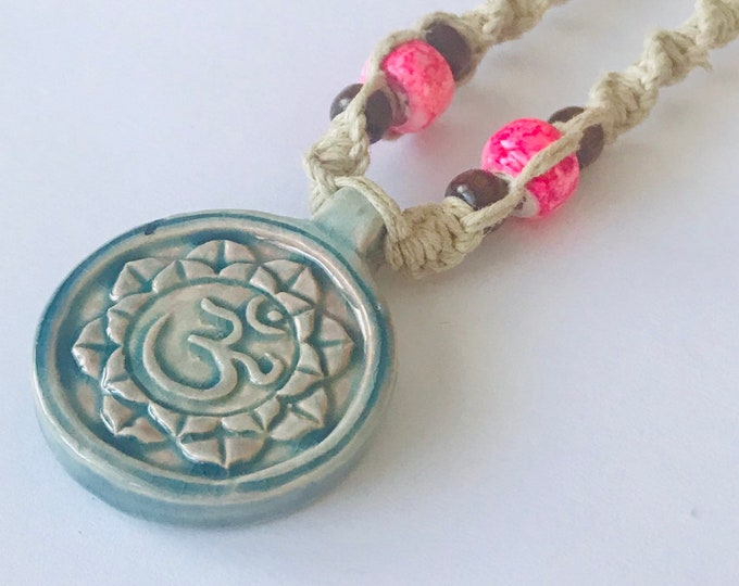 Raku Lotus and Ohm Pendant on Handmade Hemp Necklace