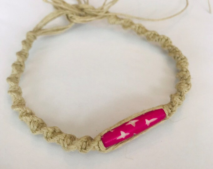 Tie On Hemp Bracelet with Pink Bead