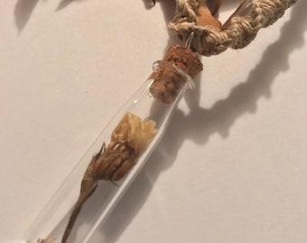 Dried Flower Vial Pendant on Handmade Hemp Necklace