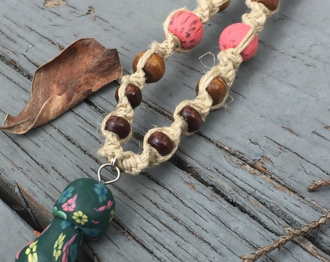 Green Clay Mushroom Pendant on Handmade Hemp Necklace