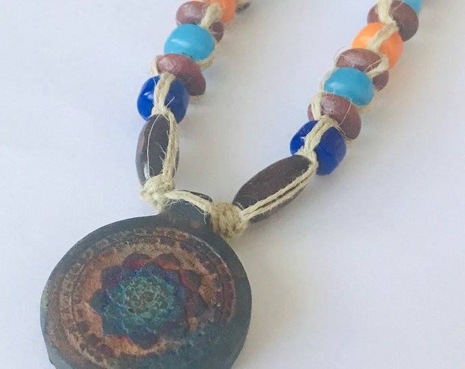 Lotus Pendant on Handmade Hemp Necklace  Rainbow